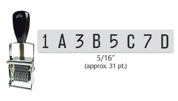 """This 8 band custom Comet self-inking alphanumeric stamp has a character size of 5/16"""" and comes in 11 stunning ink color options. Orders over $45 ship free!"""