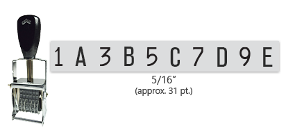 """This 10 band custom Comet self-inking alphanumeric stamp has a character size of 5/16"""" and comes in 11 stunning ink color options. Orders over $45 ship free!"""