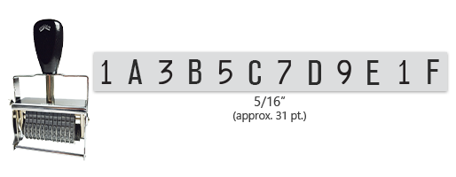 """This 12 band custom Comet self-inking alphanumeric stamp has a character size of 5/16"""" and comes in 11 stunning ink color options. Orders over $45 ship free!"""