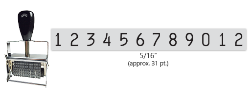"""This 12 band Comet self-inking numbering stamp has a character size of 5/16"""" and comes in 11 stunning ink color options. Orders over $45 ship free!"""