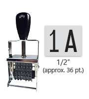 """This 2 band custom Comet self-inking alphanumeric stamp has a character size of 1/2"""" and comes in 11 stunning ink color options. Orders over $45 ship free!"""