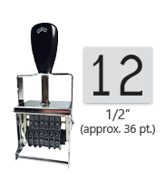 """This 2 band Comet self-inking numbering stamp has a character size of 1/2"""" and comes in 11 stunning ink color options. Orders over $45 ship free!"""
