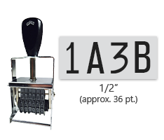 """This 4 band custom Comet self-inking alphanumeric stamp has a character size of 1/2"""" and comes in 11 stunning ink color options. Orders over $45 ship free!"""
