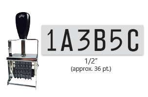 """This 6 band custom Comet self-inking alphanumeric stamp has a character size of 1/2"""" and comes in 11 stunning ink color options. Orders over $45 ship free!"""