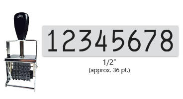 """This 8 band Comet self-inking numbering stamp has a character size of 1/2"""" and comes in 11 stunning ink color options. Orders over $45 ship free!"""