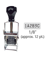 """This 6 band custom Comet self-inking alphanumeric stamp has a character size of 1/8"""" and comes in 11 stunning ink color options. Orders over $45 ship free!"""