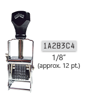 """This 7 band custom Comet self-inking alphanumeric stamp has a character size of 1/8"""" and comes in 11 stunning ink color options. Orders over $45 ship free!"""