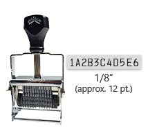 """This 11 band custom Comet self-inking alphanumeric stamp has a character size of 1/8"""" and comes in 11 stunning ink color options. Orders over $45 ship free!"""