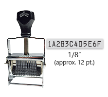 """This 12 band custom Comet self-inking alphanumeric stamp has a character size of 1/8"""" and comes in 11 stunning ink color options. Orders over $45 ship free!"""