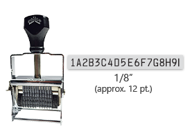 """This 18 band custom Comet self-inking alphanumeric stamp has a character size of 1/8"""" and comes in 11 stunning ink color options. Orders over $45 ship free!"""