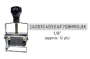 """This 22 band custom Comet self-inking alphanumeric stamp has a character size of 1/8"""" and comes in 11 stunning ink color options. Orders over $45 ship free!"""