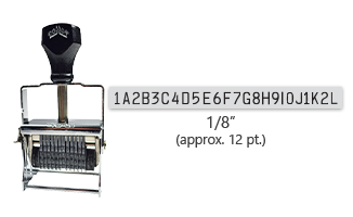 """This 24 band custom Comet self-inking alphanumeric stamp has a character size of 1/8"""" and comes in 11 stunning ink color options. Orders over $45 ship free!"""