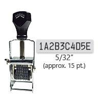 """This 10 band custom Comet self-inking alphanumeric stamp has a character size of 5/32"""" and comes in 11 stunning ink color options. Orders over $45 ship free!"""
