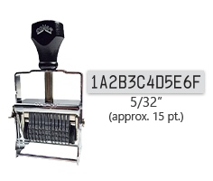 """This 12 band custom Comet self-inking alphanumeric stamp has a character size of 5/32"""" and comes in 11 stunning ink color options. Orders over $45 ship free!"""