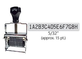 """This 16 band custom Comet self-inking alphanumeric stamp has a character size of 5/32"""" and comes in 11 stunning ink color options. Orders over $45 ship free!"""