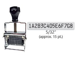 """This 15 band custom Comet self-inking alphanumeric stamp has a character size of 5/32"""" and comes in 11 stunning ink color options. Orders over $45 ship free!"""