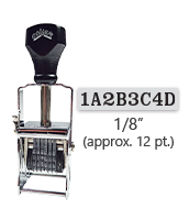 """This 8 band custom Comet self-inking alphanumeric stamp has a character size of 1/8"""" and comes in 11 stunning ink color options. Orders over $45 ship free!"""