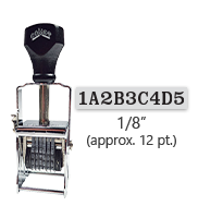"""This 9 band custom Comet self-inking alphanumeric stamp has a character size of 1/8"""" and comes in 11 stunning ink color options. Orders over $45 ship free!"""