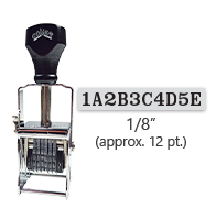 """This 10 band custom Comet self-inking alphanumeric stamp has a character size of 1/8"""" and comes in 11 stunning ink color options. Orders over $45 ship free!"""