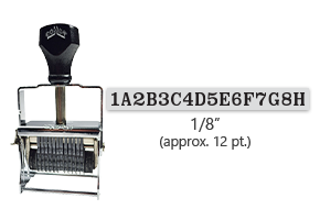 """This 16 band custom Comet self-inking alphanumeric stamp has a character size of 1/8"""" and comes in 11 stunning ink color options. Orders over $45 ship free!"""