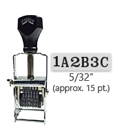 """This 6 band custom Comet self-inking alphanumeric stamp has a character size of 5/32"""" and comes in 11 stunning ink color options. Orders over $45 ship free!"""