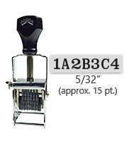 """This 7 band custom Comet self-inking alphanumeric stamp has a character size of 5/32"""" and comes in 11 stunning ink color options. Orders over $45 ship free!"""