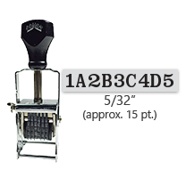 """This 9 band custom Comet self-inking alphanumeric stamp has a character size of 5/32"""" and comes in 11 stunning ink color options. Orders over $45 ship free!"""