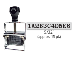 """This 11 band custom Comet self-inking alphanumeric stamp has a character size of 5/32"""" and comes in 11 stunning ink color options. Orders over $45 ship free!"""