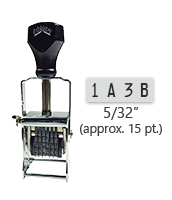 """This 4 band custom Comet self-inking alphanumeric stamp has a character size of 5/32"""" and comes in 11 stunning ink color options. Orders over $45 ship free!"""