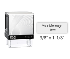 "This Cosco Printer Line stamp has a 3/8"" x 1-1/8"" customizable area with text or your logo in your choice of 11 ink colors. Ships free in 1-2 business days."