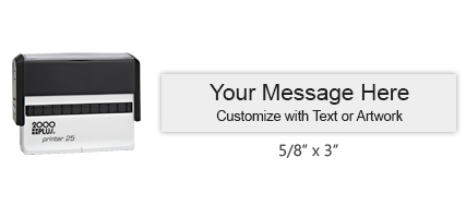"""This custom 5/8"""" x 3"""" stamp can be personalized for free with text or your logo in a choice of 11 ink colors. Ships in 1-2 business days."""