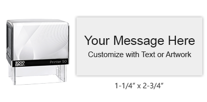 """This 1-1/4"""" x 2-3/4"""" impression allows your to fully personalize with your own text and logo & choose from 11 ink colors. Ships free with orders $45 and over."""