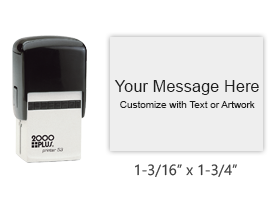 """Personalize this 1-3/16"""" x 1-3/4"""" printer line stamp with text and your logo in your choice of 11 exciting ink colors. Ships in 1-2 business days."""