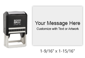 "Customize this lightweight printer line 1-9/16"" x 1-15/16"" stamp with text and your logo in your choice of 11 ink colors. Ships free in 1-2 business days."