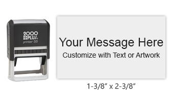 """Personalize this 1-3/8"""" x 2-3/8"""" printer line stamp free with text or your logo in your choice of 11 vibrant ink colors. Ships in 1-2 business days."""