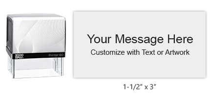 """Customize this 1-1/2"""" x 3"""" stamp free with text or your logo in your choice of 11 vibrant ink colors. Easy to Use - Refillable. Ships in 1-2 business days."""