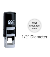 """Customize this round 1/2"""" diameter impression free with text or your logo in your choice of 11 ink colors. Refillable and ships in 1-2 business days."""