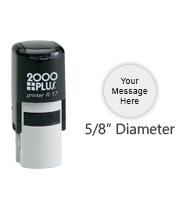 "Customize this round 5/8"" diameter stamp with text or your logo in your choice of 11 vibrant ink colors. Refillable and ships free in 1-2 business days."