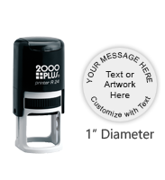"Customize this 1"" round stamp free with text or your logo in your choice of 11 exciting ink colors. Refillable and ships free in 1-2 business days."