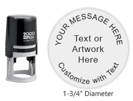 """Personalize this round 1-3/4"""" stamp impreaaion with text or your logo in your choice of 11 ink colors. Refillable and ships in 1-2 business days."""