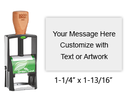 Customize free with text or your logo in your choice of 11 ink colors.  Ships in 1-2 business days and free shipping on orders over $15.  Top quality heavy duty Cosco GL2300 self-inking stamp.