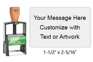 Customize free with text or your logo in your choice of 11 ink colors.  Ships in 1-2 business days and free shipping on orders over $15.  Top quality heavy duty Cosco GL2600 self-inking stamp.