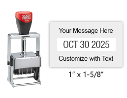 "Customize this 1"" x 1-5/8"" heavy duty metal expert date stamp with 1 line of text above and below the date in 11 ink colors. Ships free in 1-2 business days!"