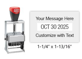 "Customize this 1-1/4"" x 1-13/16"" heavy duty metal expert date stamp with 2 lineS of text above/below the date in 11 ink colors. Ships free in 1-2 business days!"