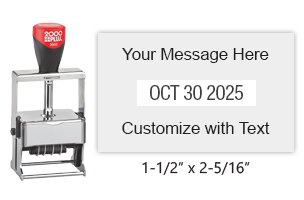 "Customize this 1-1/2"" x 2-5/16"" heavy duty metal expert date stamp with 3 lines of text above/below the date in 11 ink colors. Ships free in 1-2 business days!"