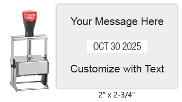 "Customize this 2"" x 2-3/4"" heavy duty metal expert date stamp with 4 lines of text above/below the date. Comes in 11 ink colors. Ships free in 1-2 business days!"