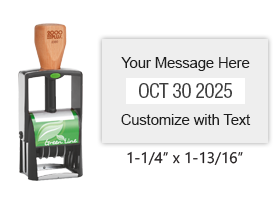 "Customize this 1-1/4"" x 1-13/16"" heavy duty green line date stamp with 2 lines of text above/below the date. 11 ink colors. Ships free in 1-2 business days!"