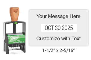 "Customize this 1-1/2"" x 2-5/16"" heavy duty green line date stamp with 3 lines of text above/below the date in 11 ink colors. Ships free in 1-2 business days!"