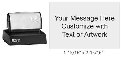 "Customize this 1-15/16"" x 2-15/16"" stamp with up to 12 lines of text in one of 11 ink colors! Long-lasting impressions and use. Orders over $25 ship free!"