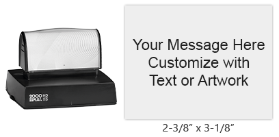 "This stamp is 2-3/8"" x 3-1/8"" and has 14 lines of text, available in 11 ink colors! Long-lasting impressions and use. Orders over $25 ship free!"